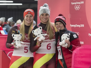 Das Podium der Damen in PyeongChang